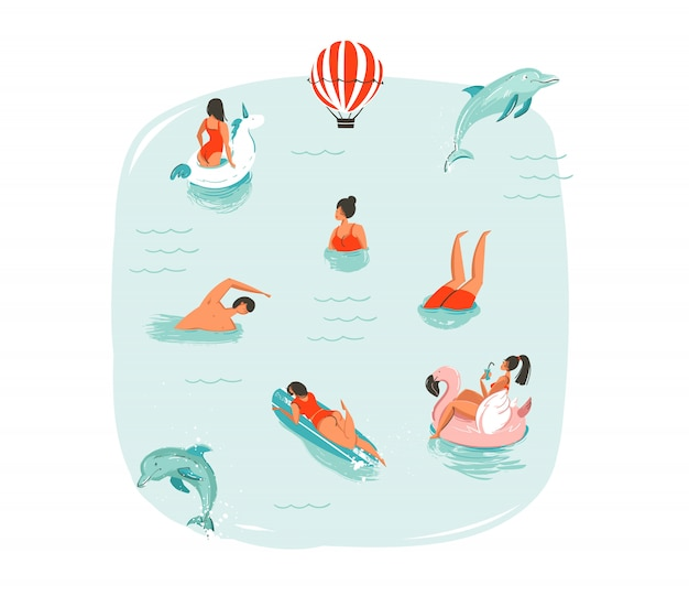 Hand drawn  abstract summer time fun illustration with swimming happy people with jumping dolphins,hot air balloon,unicorn and pink flamingo buoys floats on blue water background