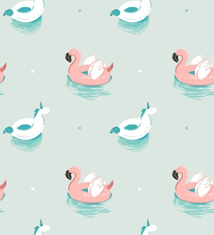 Hand drawn  abstract summer time fun seamless pattern with pink flamingo float and unicorn swimming pool buoy circle  on blue water background.