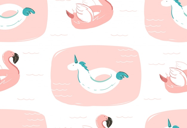 Hand drawn  abstract summer time fun seamless pattern with pink flamingo float and unicorn swimming pool buoy circle  on white background