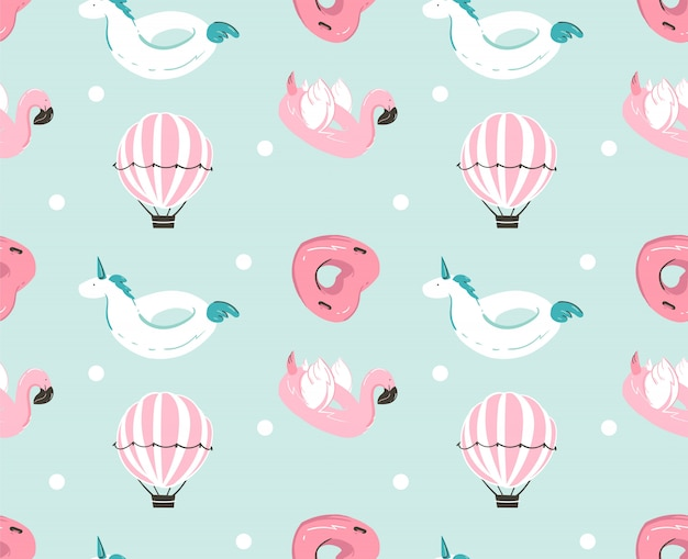 Hand drawn  abstract summer time fun seamless pattern with pink flamingo float, unicorn swimming pool buoy ,heart shape circle and hot air balloon  on blue water background