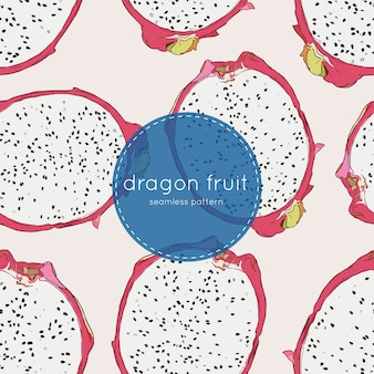 Hand drawn abstract tropical pattern of exotic fruit pitaya