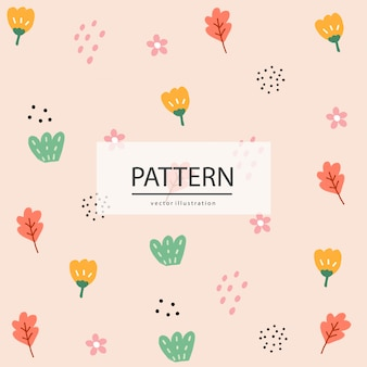 Hand drawn abstract tropical pattern