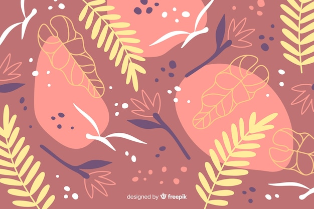 Hand drawn abstract tropical plants background