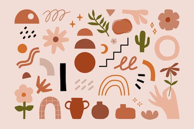손으로 그린 추상적인 다양한 모양의 현대적인 최신 현대 미술 요소 삽화.