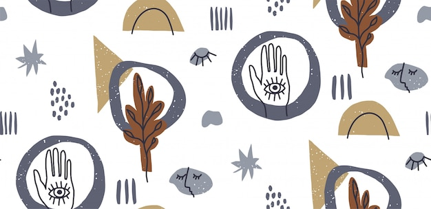 Hand drawn abstract various shapes, seamless pattern, eye and hand, doodle objects.