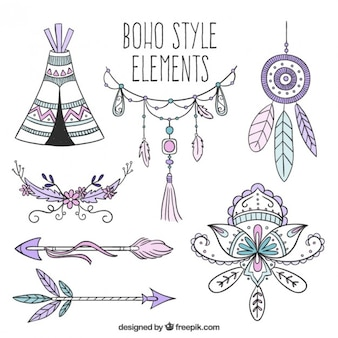Hand drawn accesories in boho style