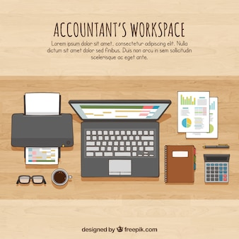 Hand drawn accountant's workspace