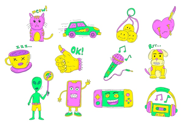 Hand-drawn acid colors funny sticker collection