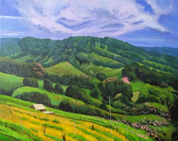 Нарисованная рукой акриловая цветная сцена горной природы с иллюстрацией лесного пейзажа