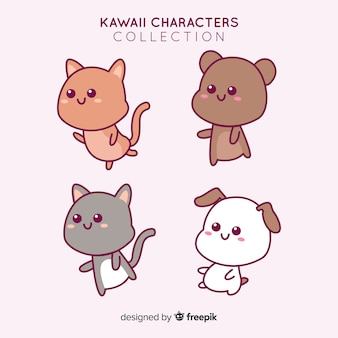 Hand drawn adorable animals collection