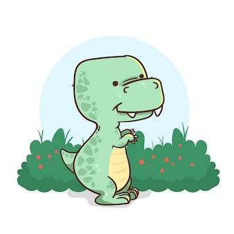 Рисованный очаровательный маленький динозавр проиллюстрирован