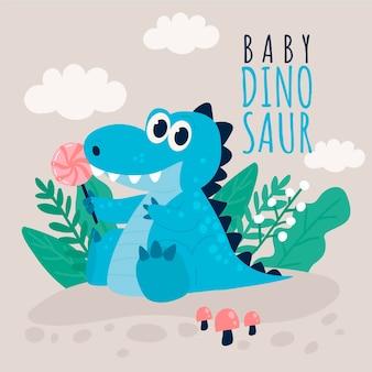 Hand drawn adorable baby dinosaur illustrated
