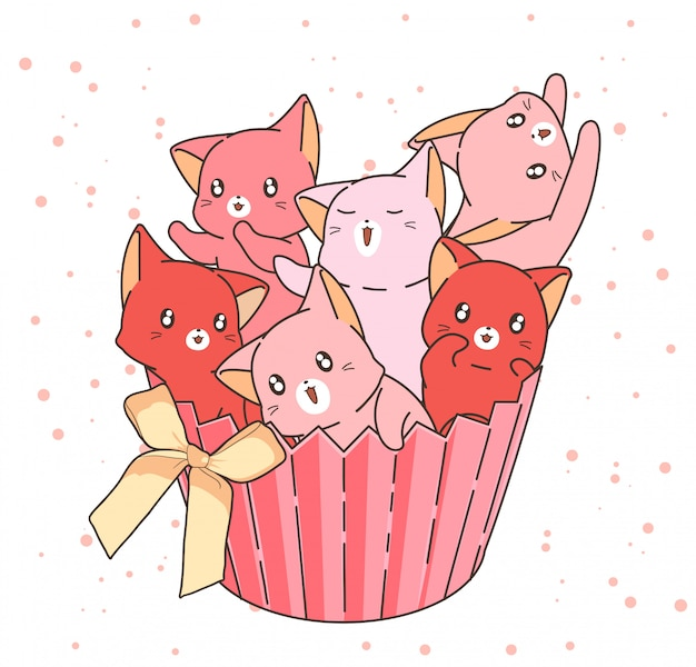 Hand drawn adorable cat characters in cup cake with a bow