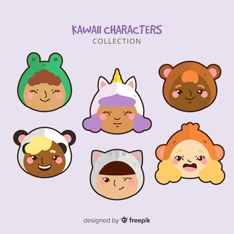 Hand drawn adorable character collection