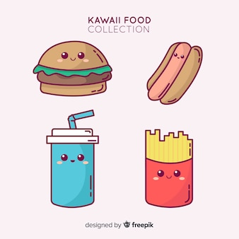 Hand drawn adorable food collection