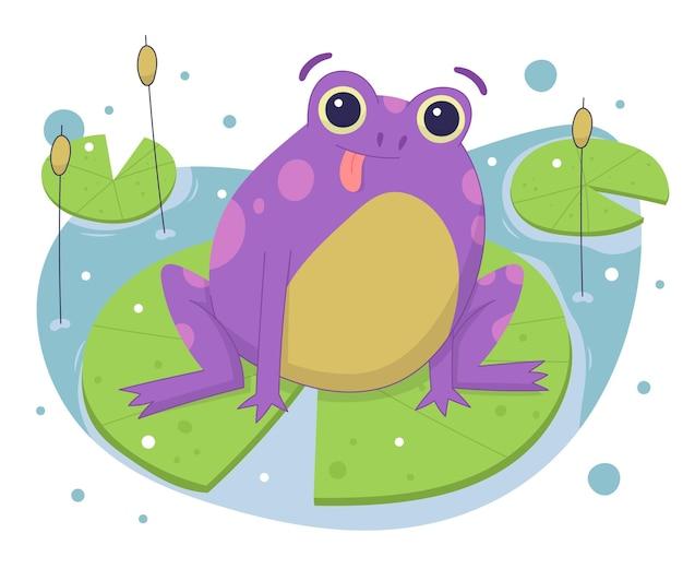 Нарисованная рукой очаровательная иллюстрация лягушки