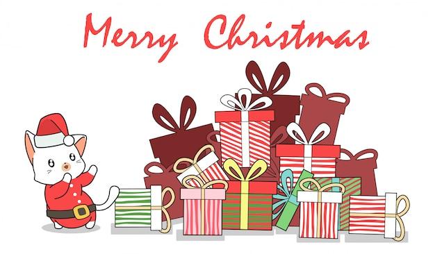Hand drawn adorable santa cat and gifts