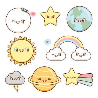 Hand drawn adorable sky elements collection