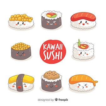 Hand drawn adorable sushi collection