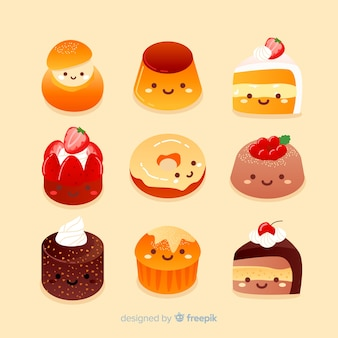 Hand drawn adorable sweet food collection