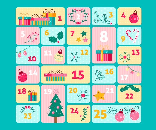 Hand drawn advent calendar illustrated