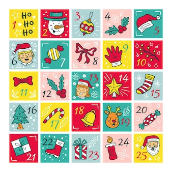 Hand drawn advent calendar illustrations