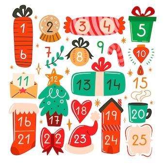 Hand drawn advent calendar items