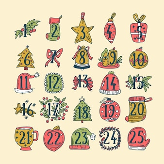 手描きの装飾とアドベントカレンダー