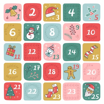 Hand drawn advent calendar