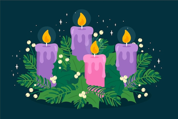 Hand drawn advent wreath concept