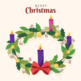 Hand drawn advent wreath