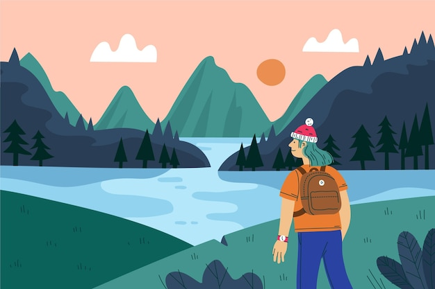Hand drawn adventure background with lake