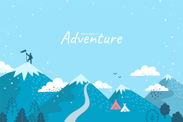 Fondo di avventura disegnato a mano con le montagne
