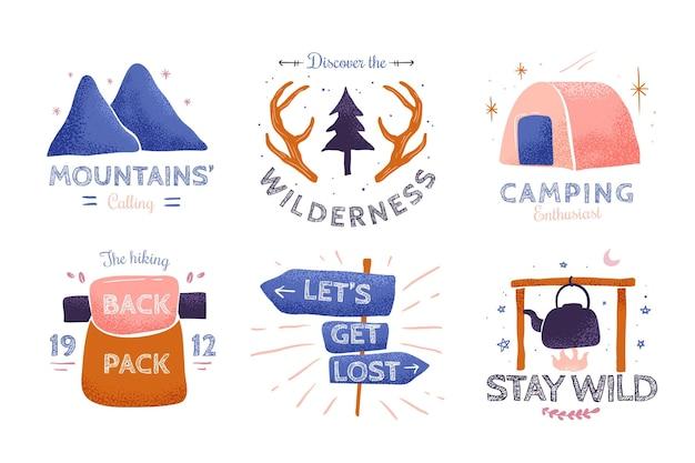 Hand drawn adventure badges
