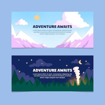 Hand drawn adventure banners set