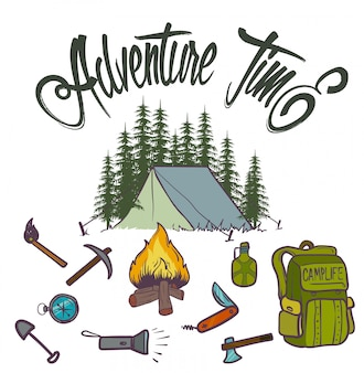 Hand drawn adventure camp icons
