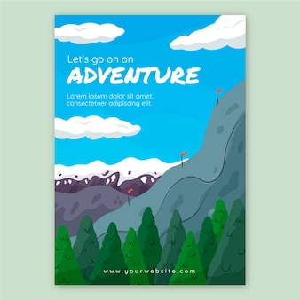 Hand drawn adventure flyer template