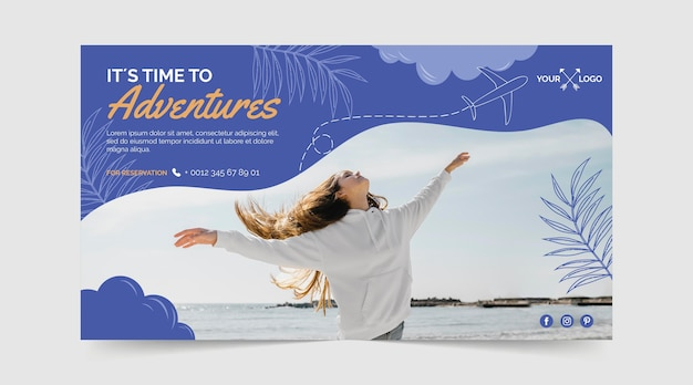 Ручной обращается приключенческий горизонтальный баннер с фотографией