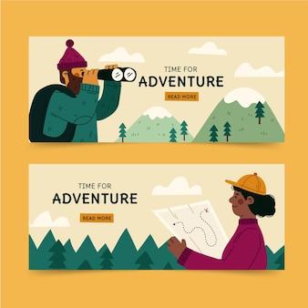 Hand drawn adventure horizontal banners template