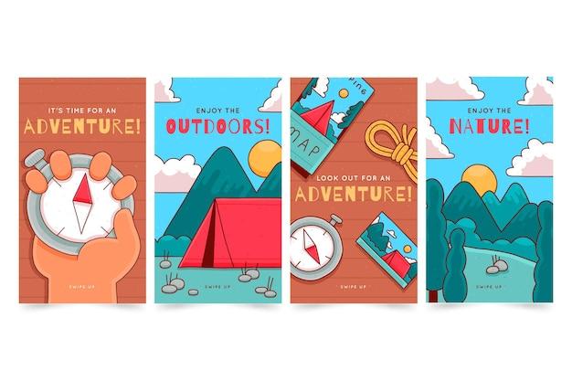 Collezione di storie di instagram di avventura disegnate a mano