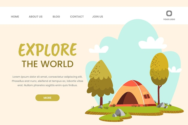 Hand drawn adventure landing page template