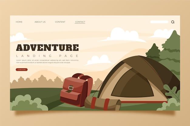 Modello di pagina di destinazione dell'avventura disegnata a mano