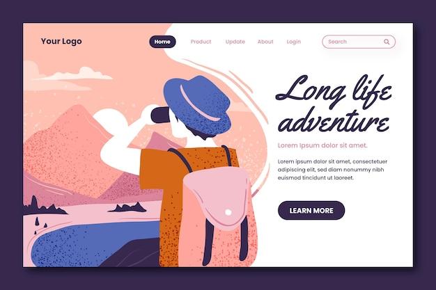 Pagina di destinazione dell'avventura disegnata a mano
