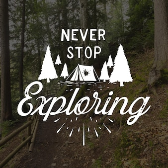 Hand drawn adventure lettering with photo
