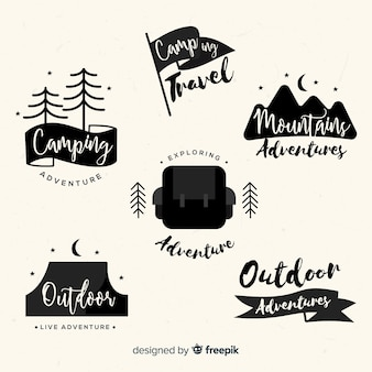 Hand drawn adventure logo collection
