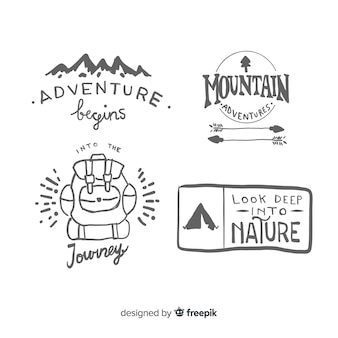 Hand drawn adventure logo collection