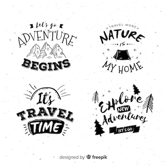 Hand drawn adventure logos collection