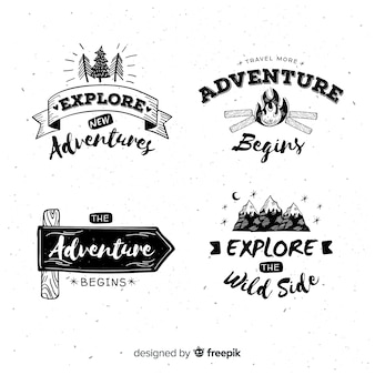 Hand drawn adventure logos collection