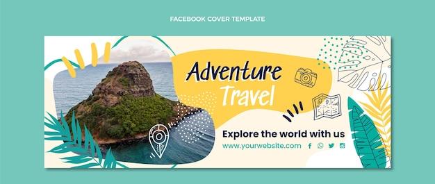 Hand drawn adventure travel facebook cover