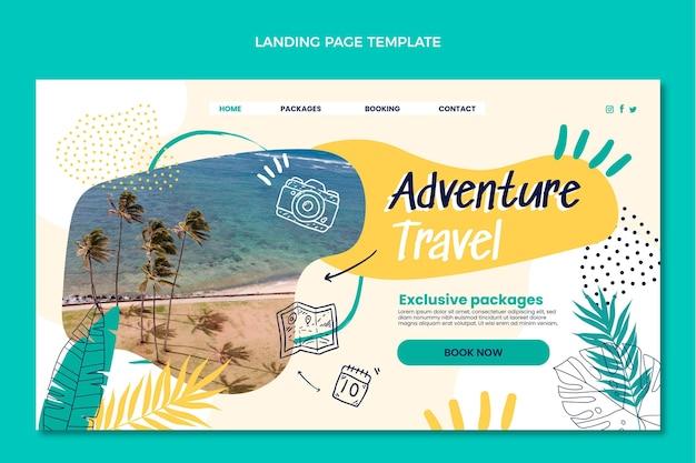 Pagina di destinazione del viaggio avventura disegnata a mano